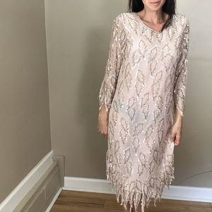 Vintage Pink Champagne Gatsby Beaded Sequin Dress